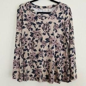 LOGO Lori Goldstein Floral Long Sleeve Tunic Top